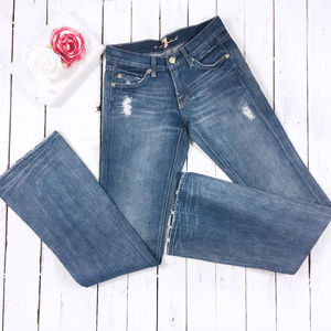7 For All Mankind Flair Distressed Denim Jeans 24